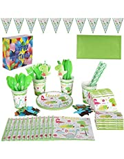 10 Piece Set Dinosaur Theme Party Package Disposable Paper Cup Straw Knife Fork Spoon Children Birthday Tableware Paper Hat Paper Cup Paper Tablecloth Dinosaur Party Set