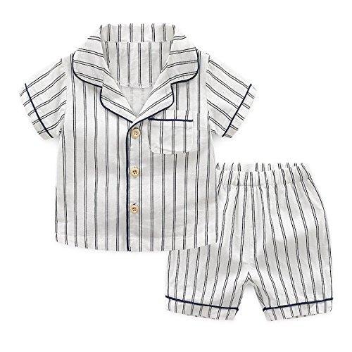 SYCLZ Boys Cotton Button Down Pajamas Set Summer Short Sleeve Striped Sleepwear 1-8 Years (White, ()
