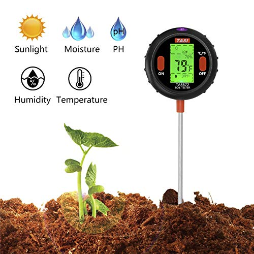 Soil pH Meter 5 in1 Soil Moisture/Sunlight/pH/Temperature/Humidity Tester Gardening Test Tool Kits for Plant Care, Great for Garden Lawn Farm Indoor & Outdoor Use ()