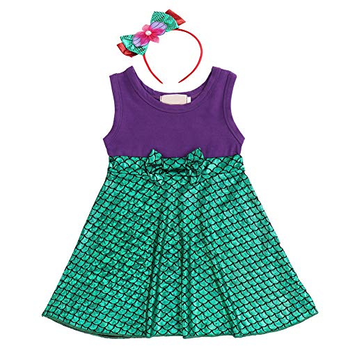Girls Princess Little Mermaid Snow White Dress Belle Minnie Ariel Kids Cosplay Birthday Party Cartoon Outfit Sleeveless Baby Yellow Dress up Playwear Clothes # Mermaid Fish Scales 18-24 Months for $<!--$17.65-->