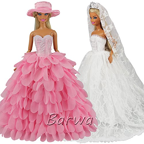 Bride Doll Clothes (Barwa White Wedding Dress with Veil and Pink Princess Evening Party Clothes Wears Gown Dress Outfit with Hat for Barbie Doll)