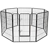 "Giantex 40"" 16/8 Panel Pet Playpen with Door, Foldable Dog Exercise Pen, Portable Free-Standing Cat Fence, for Outdoor & Outdoor, Metal Dog Puppy Cat Exercise Fence Barrier Kennel (8 Panels, 40'')"
