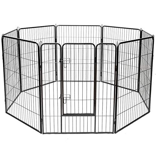 Giantex 40 16 8 Panel Pet Playpen with Door, Foldable Dog Exercise Pen, Portable Configurable Freestanding Cat Duck Chicken Rabbit Fence, Outdoor Outdoor, Metal Pet Exercise Fence Barrier Kennel