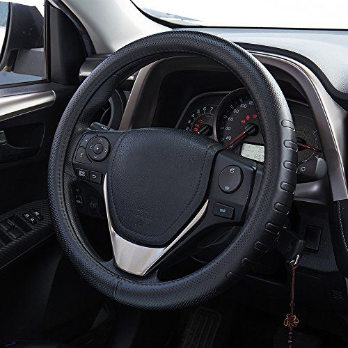 (FMS Genuine Leather Car Steering Wheel Cover Universal 15 inch Automotive Interior Accessories-Black, Durable, Breathable, Anti Slip, Odorless)