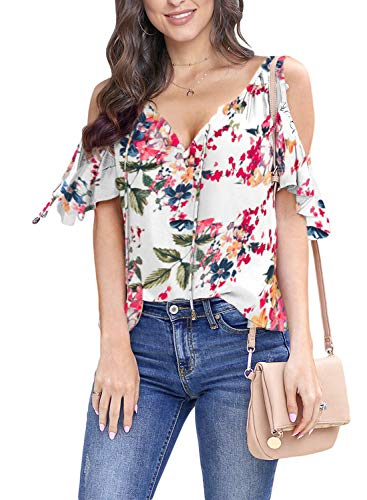 Floral Petite Blouse - Asvivid Womens Cold Shoulder Shirt Ruffle Short Sleeve Summer T-Shirt Floral Printed V Neck Loose Blouses Tops S White