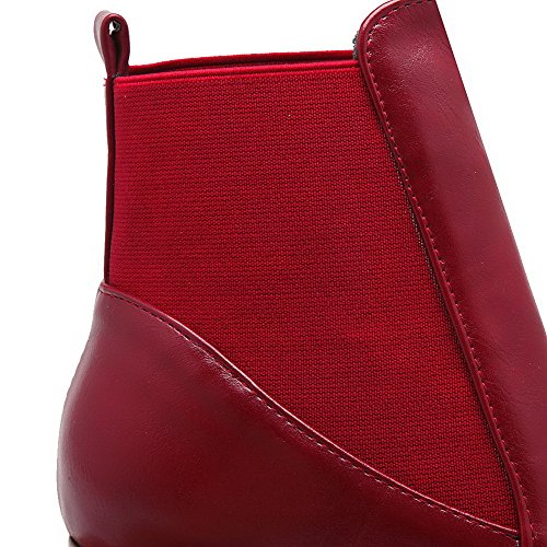 Round Claret AgooLar Closed top Low PU Kitten Toe Solid Women's Heels Boots BTqwTA5Ux