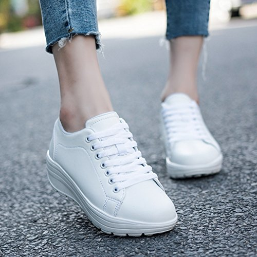Hoxekle Womens Increased height Walking Tennis Sneakers Non Slip Laces up Athletic Wedge Running Shoes White NaSPlimM9H