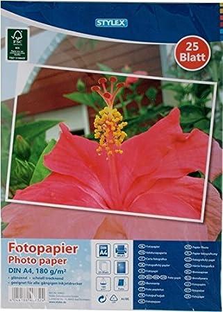 TANEX Fotopapier Photopapier für Inkjetdrucker 180g//qm 25 Blatt A4 Weiß
