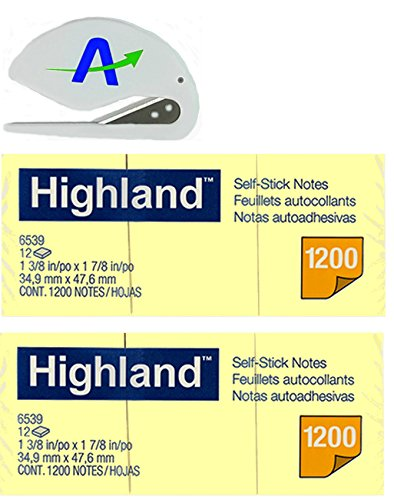 Highland 6539YW Self-Stick Notes, 1.5 x 2 Inches, Yellow, 100-Sheet Per Pad (Pack of 24 Pads) with Bonus AdvantageOP Letter Opener, Made in USA