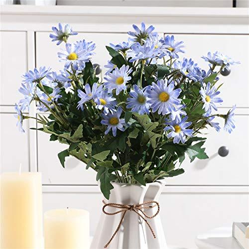 Gumolutin 2 PCS Artificial Silk Daisy Flower Bouquet for Home Table Centerpieces Arrangement Decoration, Blue ()