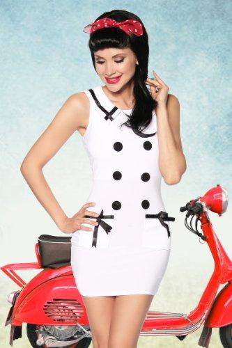 blu bianco retrò Marine dell'abito bottoni vintage con vestito bianco Look BUwvOqPU