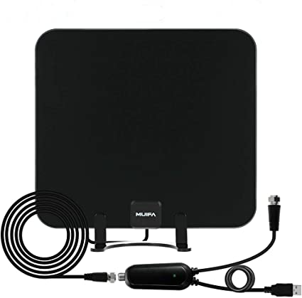 1080P UHF VHF Freeview HDTV Channels Updated 2019 Version Black Circuit City 25 Mile Mini Flat Digital Indoor HD TV Antenna with 10ft Cable and Stand