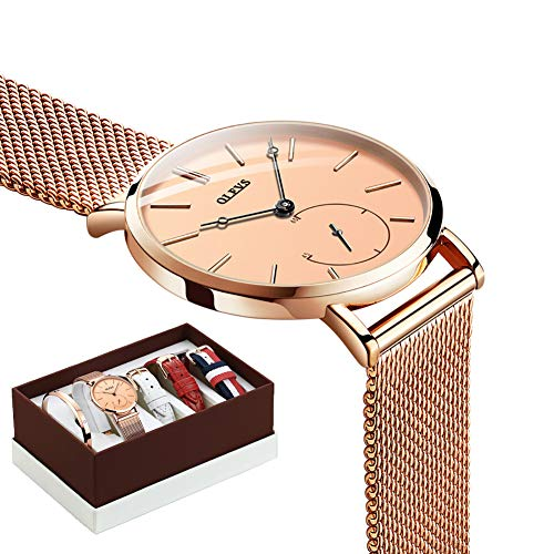 Ladies White Watch Bracelet (Ultra Thin Watches for Women Waterproof Mesh Rose Gold Stainless Steel with Second Hand Gold face Female Wrist Watch with Women's Bracelets and Multicolor Nylon Strap White and Red Leather Strap Sets)