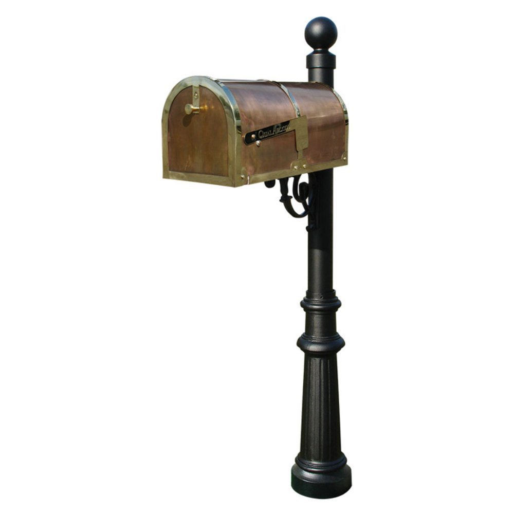 Qualarc MB-3000-POL-LP804-BL Provincial Collection Mailbox with Decorative Lewiston Post, #8 Fluted Base and #4 Black Ball Finial, Polished Brass, Ships in 2 boxes