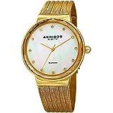 Akribos XXIV Women's Quartz Diamond & Mother-of-Pearl Gold-Tone Fine Mesh Bracelet Watch - AK1009YG