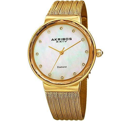 Akribos XXIV Women's Quartz Diamond & Mother-of-Pearl Gold-Tone Fine Mesh Bracelet Watch - AK1009YG by Akribos XXIV (Image #5)