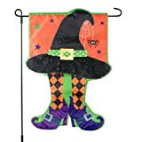 Halloween Garden Flag With Colorful Witch Hat & Stockings – 12×18 on Burlap – Home Garden Flag