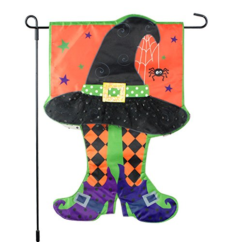 Halloween Garden Flag With Colorful Witch Hat & Stockings - 12x18 on Burlap - Home Garden Flag