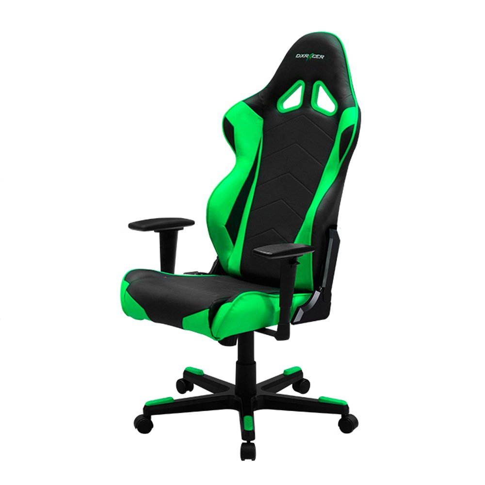 DXRacer Racing Series DOH RE0 NE Newedge Edition Racing Bucket Seat Office Chair Gaming Chair Ergonomic Computer Chair eSports Desk Chair Executive Chair Furniture With Pillows Black Green