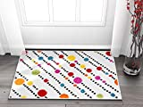 Well Woven Modern Rug Dandy Dots and Stripes Ivory 3'3''X5' Accent Area Rug Entry Way Bright Kids Room Kitchn Bedroom Carpet Bathroom Soft Durable Area Rug