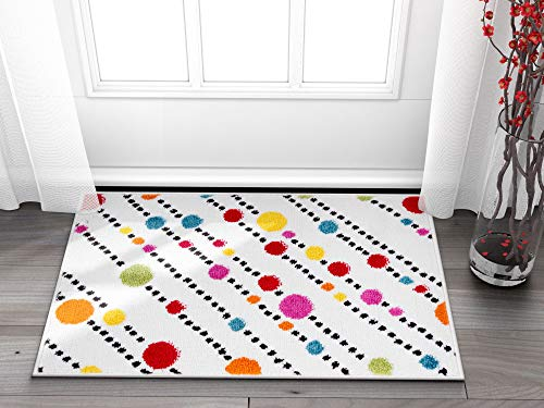 Well Woven Small Rug Mat Doormat Modern Kids Room Kitchen Rug Dandy Dots And Stripes Ivory 1 8 X 2 7 Accent Area Rug Buy Online In Botswana At Botswana Desertcart Com Productid 19602630