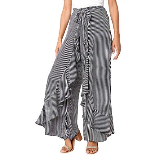Women Ladies Summer Fashion Ruffles Striped Long Wide Leg High Waist Pants Elegant Bandage Casual Long Trousers (L, Black) (Danskin Capris)