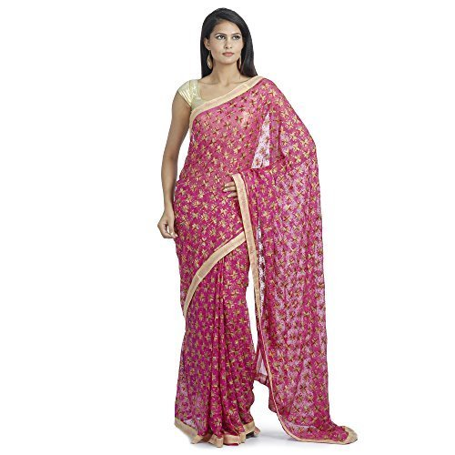 Ethnic Bliss Lifestyles Chiffon Phulkari Dark Pink Multicolor Thread Work Saree by Ethnic Bliss Lifestyles