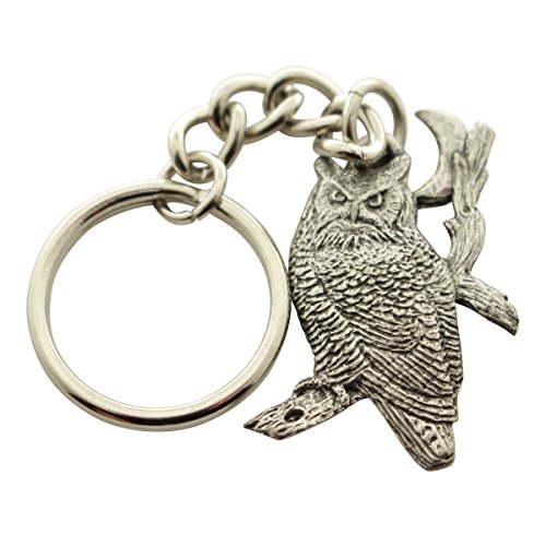 Sarah's Treats & Treasures Great Horned Owl and Moon Keychain ~ Antiqued Pewter ~ Keychain