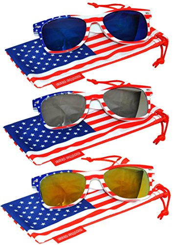Classic American Patriot Flag Sunglasses Blue Silver Yellow-Red Mirror Lens USA American Flag White Frame OWL