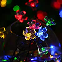 Outside Solar String Lights Outdoor Waterproof LED Flowers Decorations, 23 Ft 50 Fairy Warm White LEDs Blossom Garden Lighting for Christmas,Patio,Lawn,Fence,Holiday