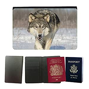 Passeport Voyage Couverture Protector // V00001720 Lobo de madera // Universal passport leather cover