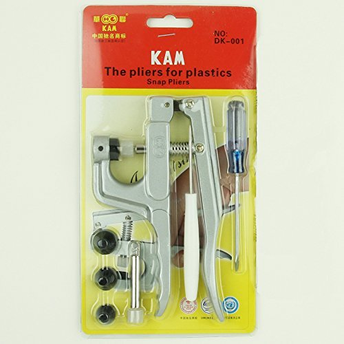 KAM Snap Press Plier Hand Setter Tool and 4 Dies Sizes (T3, T5, T8A and T8B) for KAM Plastic/Resin Snaps use to make Cloth Diapers/Bibs/Mama Pads/PUL and More -