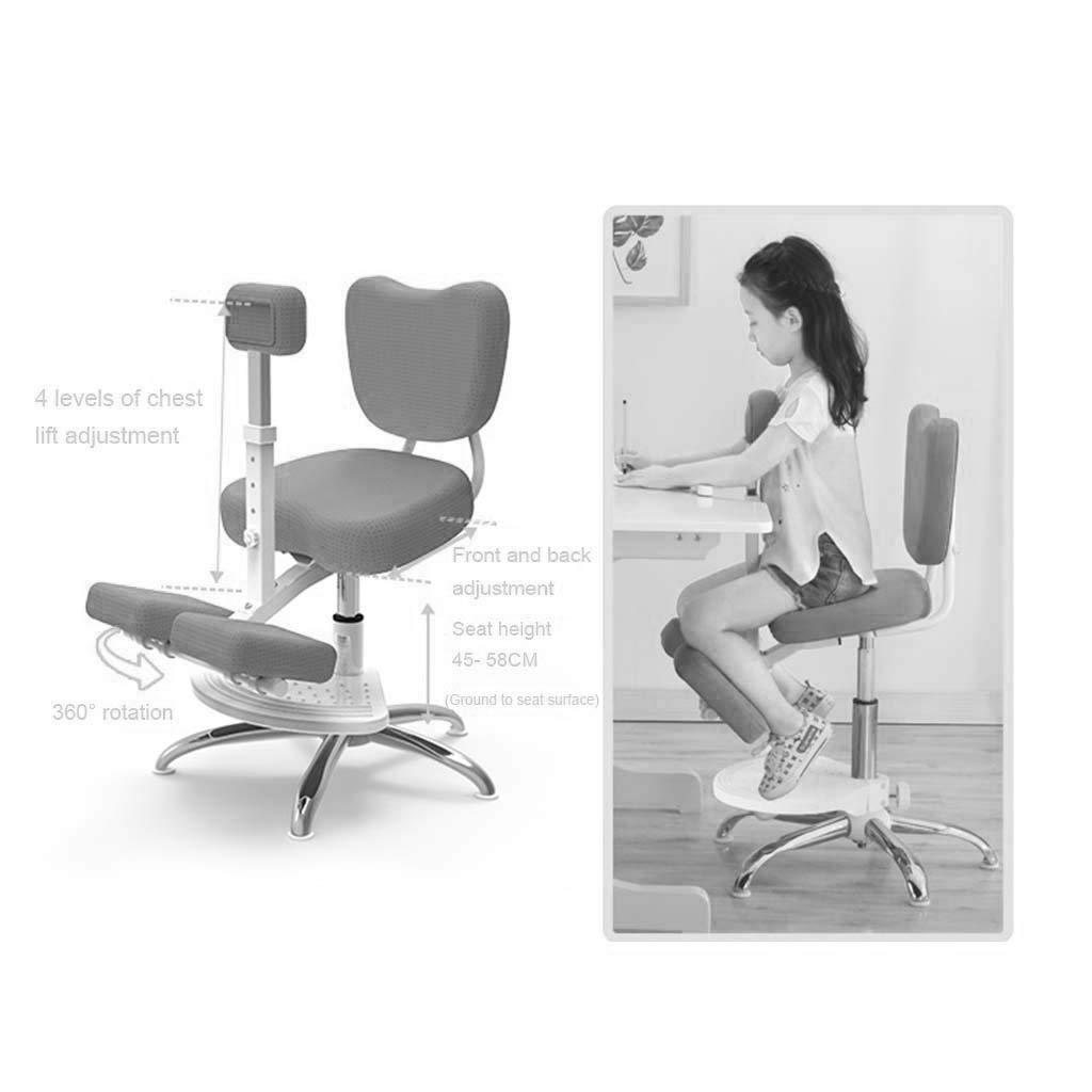 Knästolar ortodontisk ergonomisk stol barns hållningskorrigeringsstol knä med pedaler, knäskydd justerbar 360° gRÖN Rosa