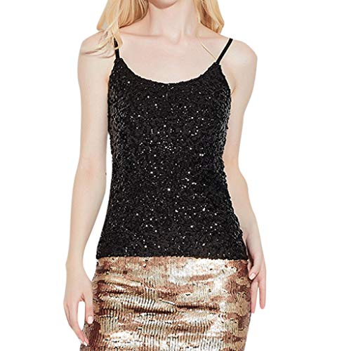 Chiffon Bust Dress Sequined (Ugood 2018 Hot Selling US Womens-Ladies-Sequined-Bling-Shiny-Tank-Tops-Sleeveless-T-Shirts-Blouse-Vest (Black))
