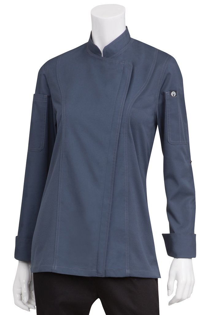 Chef Works Women's Hartford Chef Coat, Blue, X-Small