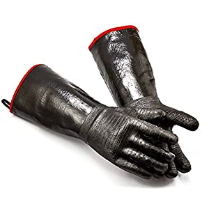 RAPICCA Griller BBQ Heat Resistant Insulated Cooking Gloves for Barbecue/Grill/Smoker/Fry Turkey/Pot Holder/Oven mitt/Baking, Waterproof Neoprene Coating with Textured Palms BlackLong Sleeve 17-InchXL