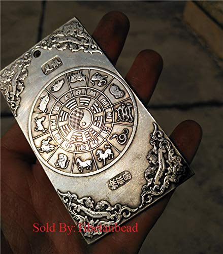 chinese douboe flying dragon play ball statue tibetan silver carved buddha pendant tibet amulet talisman calligraphy paperweight copper bronze china zodiac The Eight Trigrams - Tibetan Silver Amulet Pendants