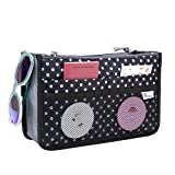 Periea Handbag Organizer - Chelsy - Premium Firm Range - 3 Colours Available - Small, Medium or Large (Medium, Black with White Polka Dots)