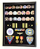 Challenge Coin / Medals / Pins / Badges / Ribbons / Insignia / Buttons Chips Combo Display Case Box Cabinet (Black Finish)