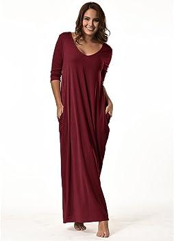 ZOMUSA Womens Plus Size Casual V Neck Sleeveless Pockets Ankle Length Dress Party Dress