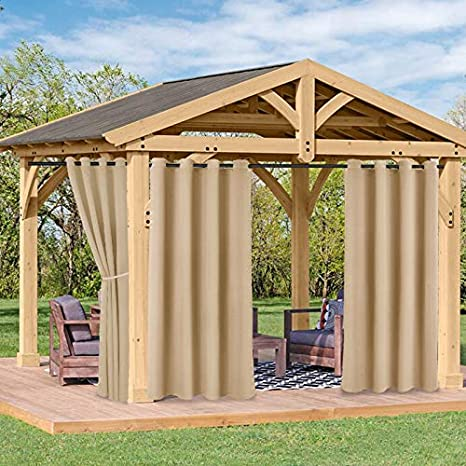 FLOWEROOM Indoor//Outdoor Curtains for Patio Beige Set of 2 Panels Grommet Thermal Blackout Curtains for Bedroom//Living Room Pergola and Cabana 52 x 84 inch Sun Light Blocking Waterproof