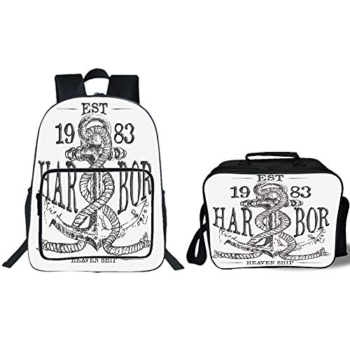 19'' School Backpack & Lunch Bag Bundle,Anchor,Antique Anchor and Rope Doodle in Vintage Illustration Harbor Heaven Shiping Elements Art,Grey,for Boys Girls by iPrint