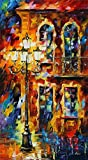 100% Hand Painted Oil Paintings Modern Abstract Oil Painting on Canvas Buildings under Street Lights Home Wall Decor (24X44 Inch, Oil Painting 2)