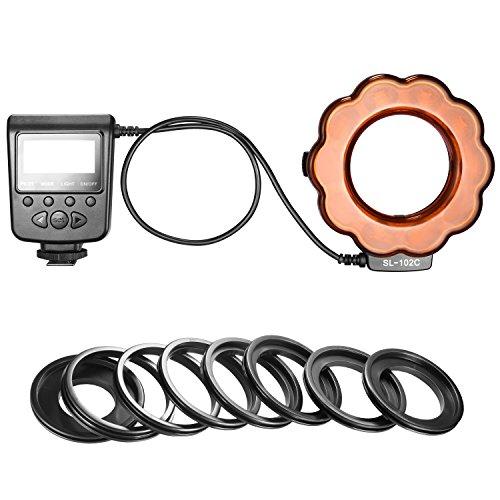 Neewer マクロLEDリングフラッシュライト LCDディスプレイ オレンジフィルター 8輝度調整 8種類の取り付けリング付き マクロショット プロダクト/スタジオ/ビデオ撮影 SL-102に対応