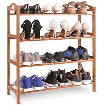 HOMFA Bamboo Shoe Rack 4 Tier Entryway Shoe Shelf Storage Organizer For  Home U0026 Office
