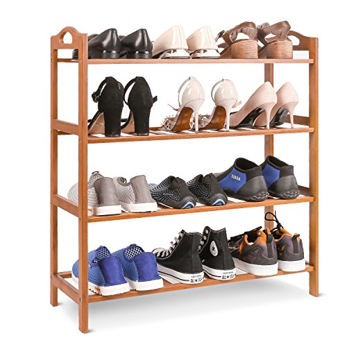 Homfa Bamboo Shoe Rack 4-Tier Entryway Shoe Shelf Storage Organizer for Home & Office Easy to Assemble (Natural Color)