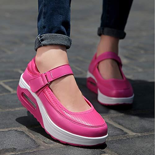 ZHZNVX Zapatos de Mujer PU (Poliuretano) Primavera/Otoño Comfort Sneakers Flat Heel Negro/Gris / Fucsia Fuchsia