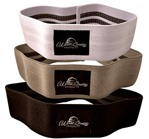 World Quality Products Hip Resistance Bands Set of 3 – Premium Booty Hip Circles with Mesh Carry Bag - 3 Resistance Levels – Thick and Wide Non Slip Bands Great for Legs and Butt