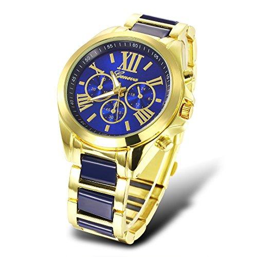 Geneva Brand Analog Quartz Wristwatch for Men Women Casual Sport Gold Watch Waterproof