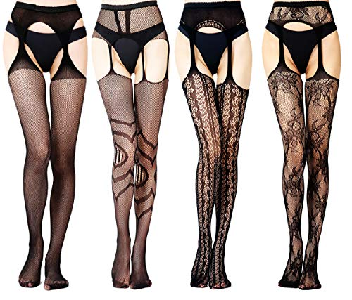 Suspender Pantyhose Style (Charmnight Fishnet Stockings High Waist Suspender Pantyhose Tights For Women, Black-G2, S-XXXL)